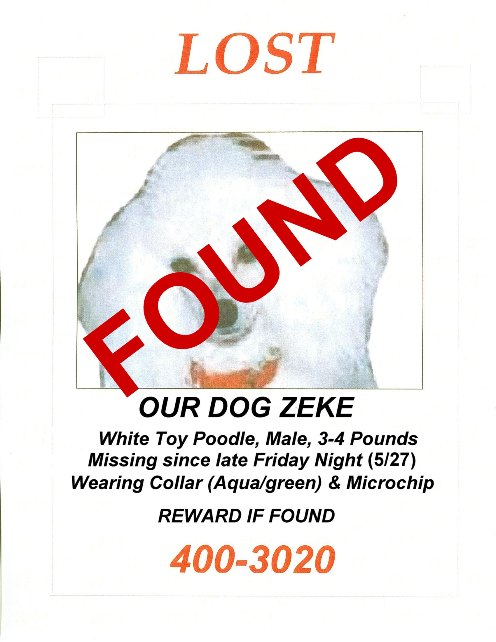 Found 5/28/2006 approx. 10:00 p.m.